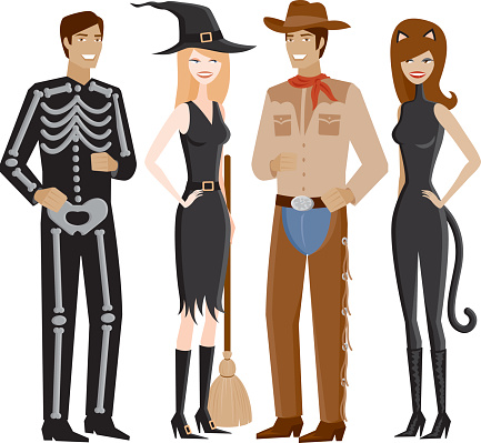 Two Couples In Halloween Costumes