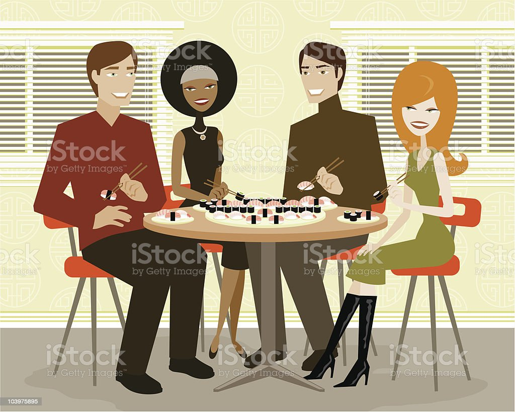Two Couples Out For Sushi royalty-free stock vector art