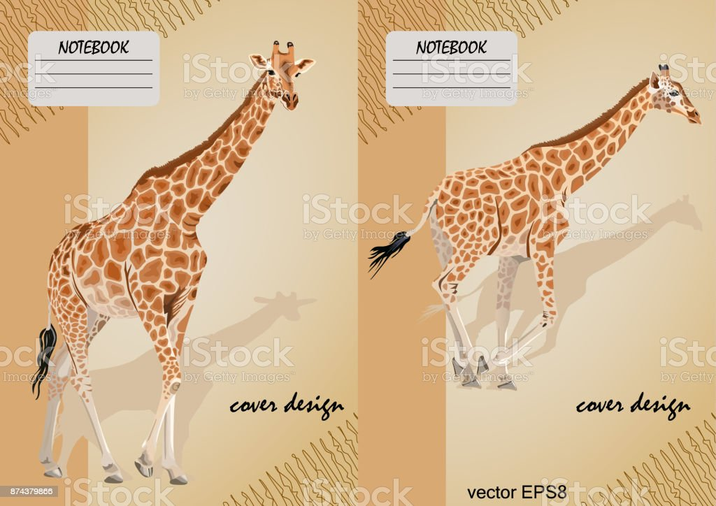 Two covers for notebooks with a giraffe on a beige background