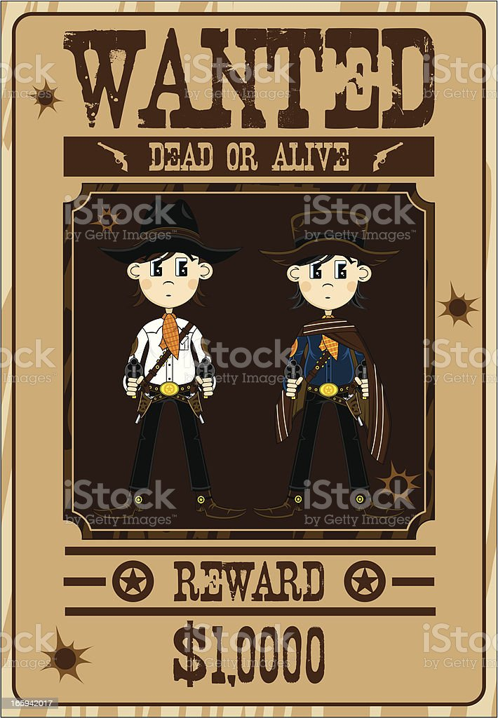 Two Cowboy Gunslingers Wanted Poster royalty-free two cowboy gunslingers wanted poster stock vector art & more images of aiming