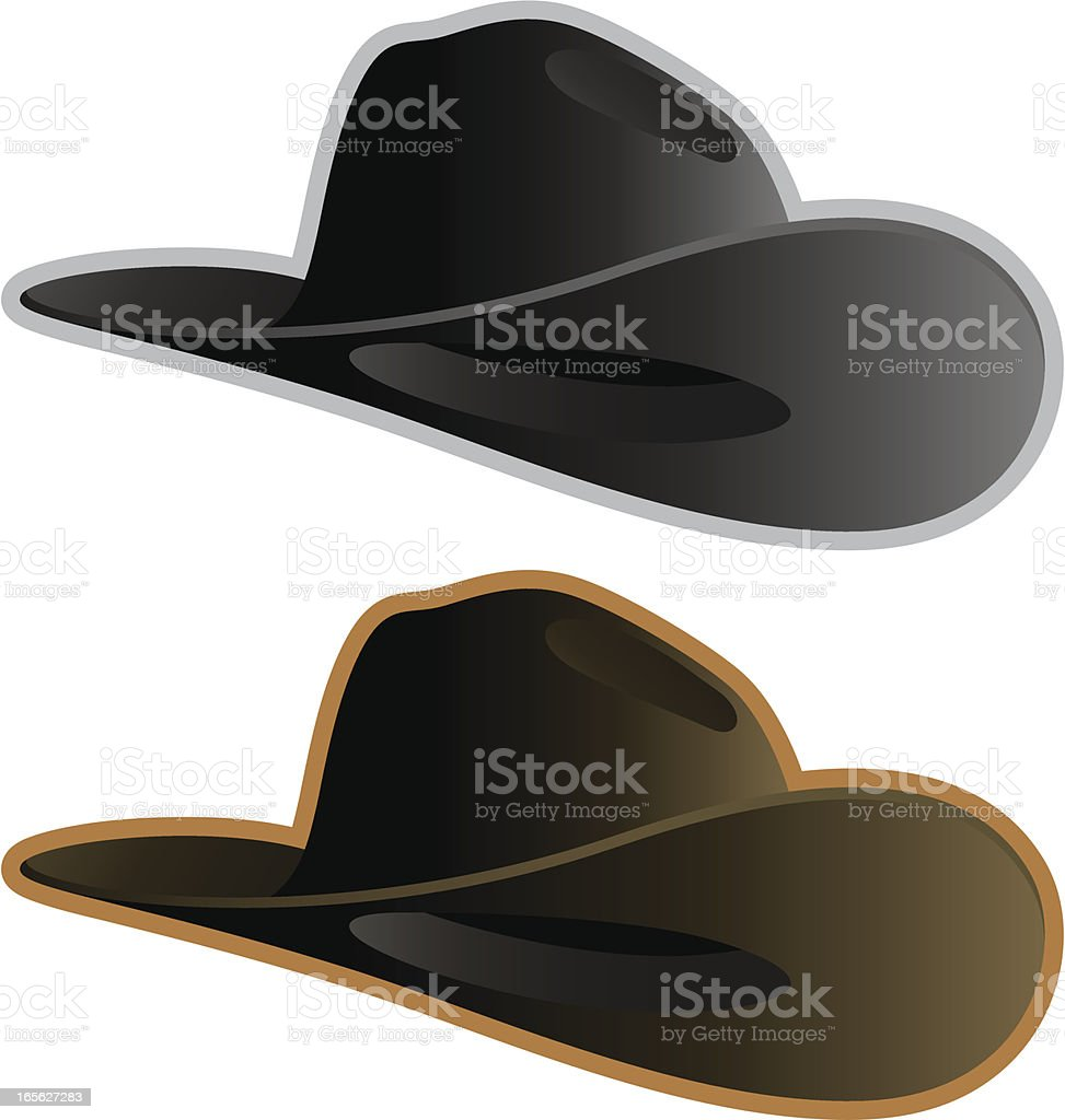 Two cowboy hats one gray and one brown vector art illustration