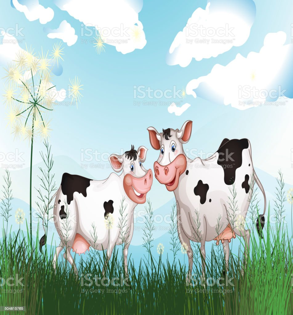 Two cows at the grassland royalty-free two cows at the grassland stock vector art & more images of agriculture