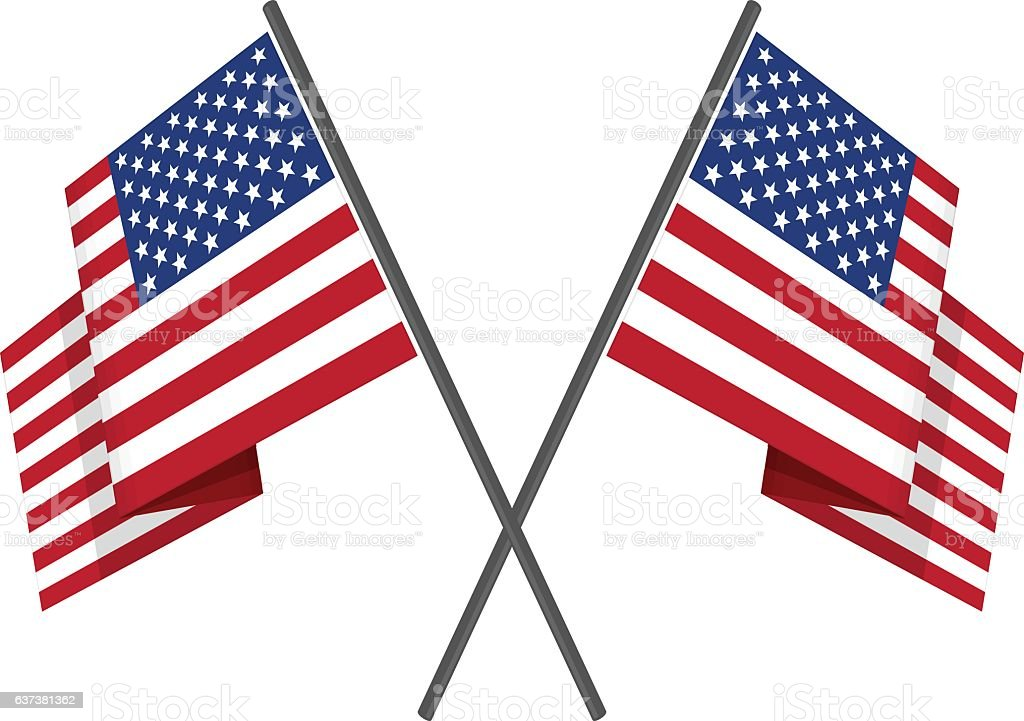 Two crossed american flag vector. vector art illustration