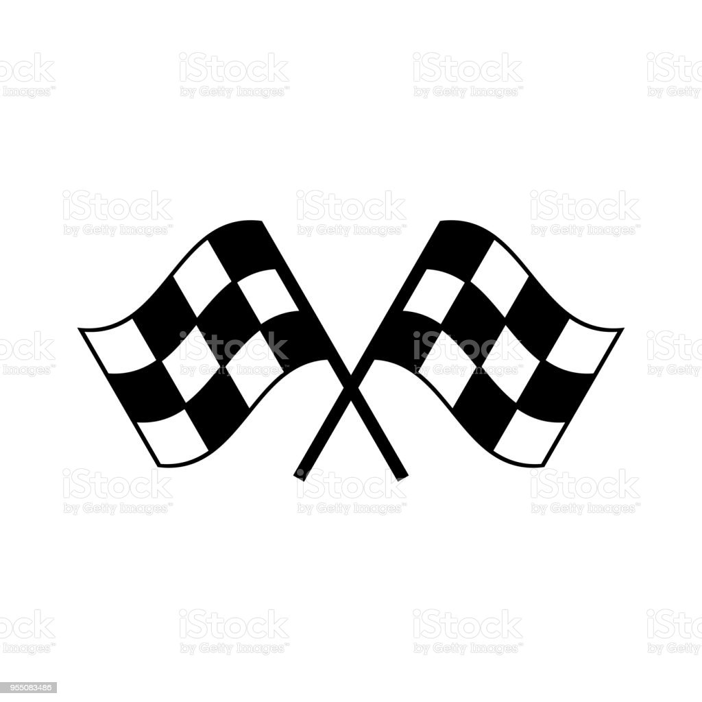 Deux traversé icône de drapeau de course auto. Illustration vectorielle. Terminer le drapeau à damier - Illustration vectorielle