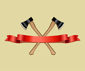 Two crossed axes and red ribbon isolated on beige background. Vector realistic emblem.