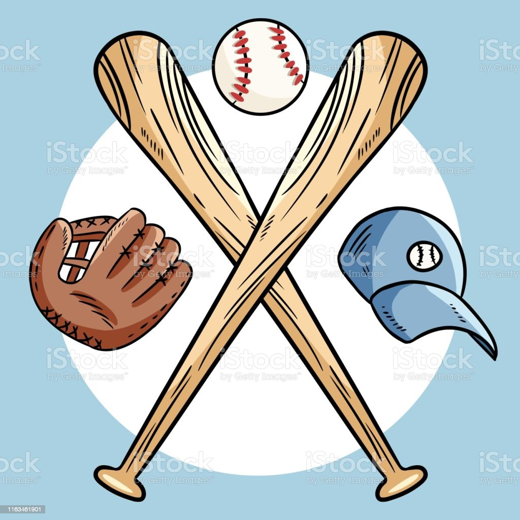 Two crossed baseball bats and ball, icon logo. Vector isolated...