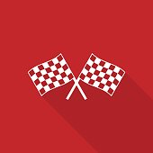 Two crossed checkered flag icon with long shadow