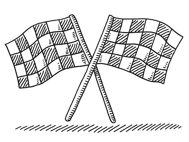 Two Crossed Checkered Flags Drawing Hand-drawn vector drawing of Two Crossed Checkered Flags. Black-and-White sketch on a transparent background (.eps-file). Included files are EPS (v10) and Hi-Res JPG. motor sport stock illustrations