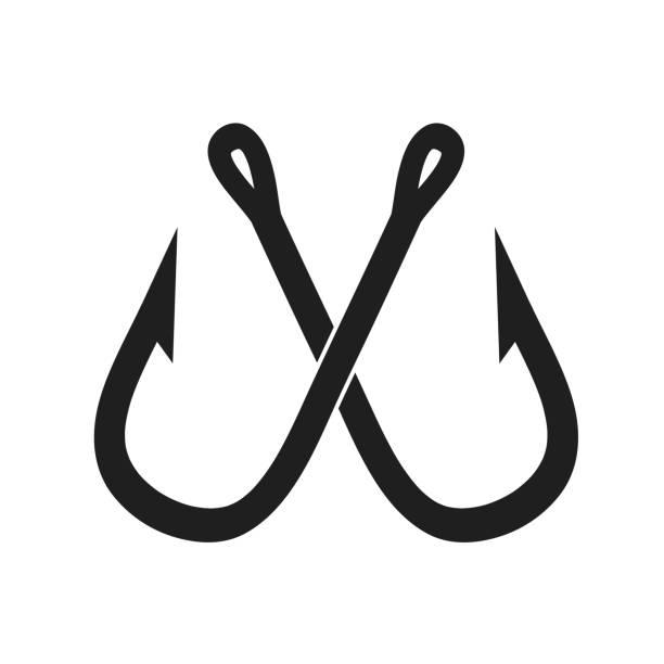 zwei gekreuzte angelhaken auf weiße, lager vektor-illustration - angelhaken stock-grafiken, -clipart, -cartoons und -symbole