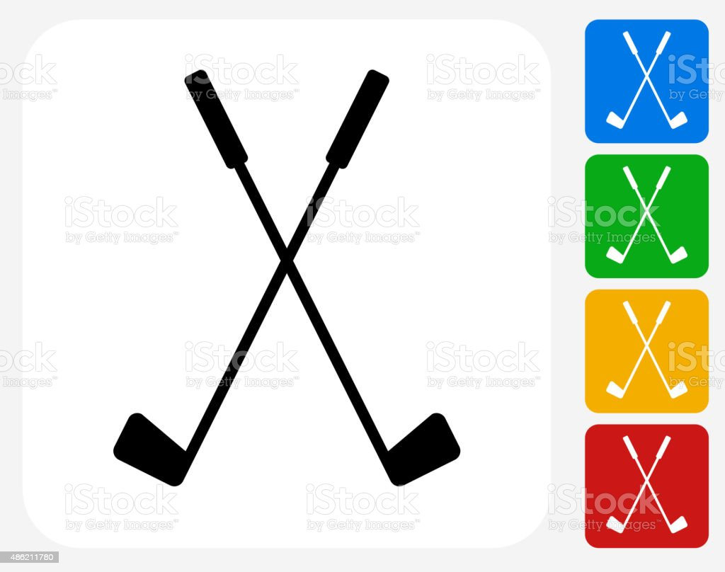 Two Crossed Golf Clubs Icon Flat Graphic Design vector art illustration