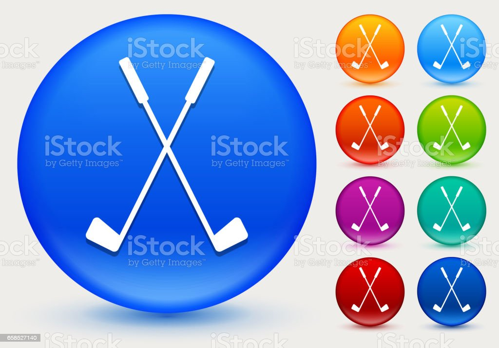 Two Crossed Golf Clubs Icon On Shiny Color Circle ons Stock ... on golf t-shirt logo design, baseball skull tattoo design, golf club embroidery design,