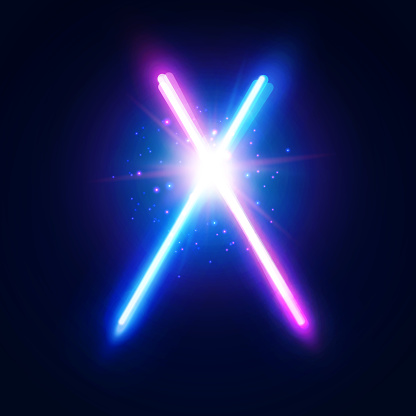 Two crossed light neon tubes. Blue and purple crossing laser stripes. Glowing rays in space. Battle elements with star, flash and particles. Colorful vector illustration.