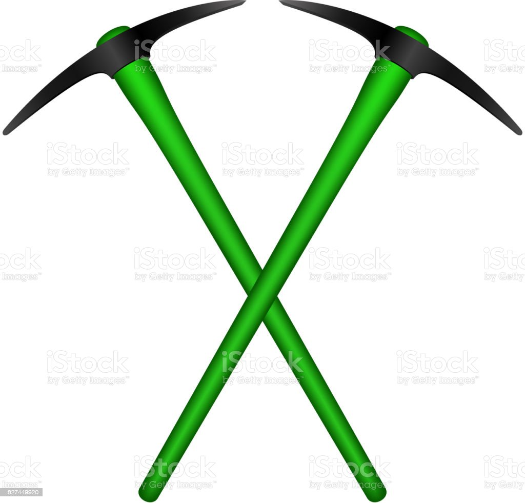 Two crossed mattocks in black design with green handle vector art illustration