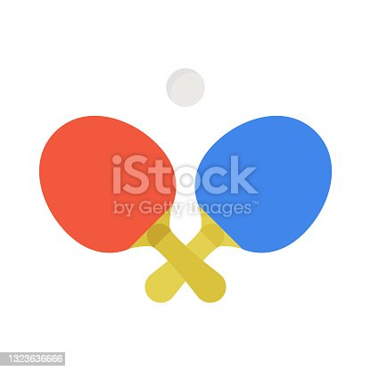 istock Two crossed ping pong rackets and ball emblem. Vector illustration. 1323636666