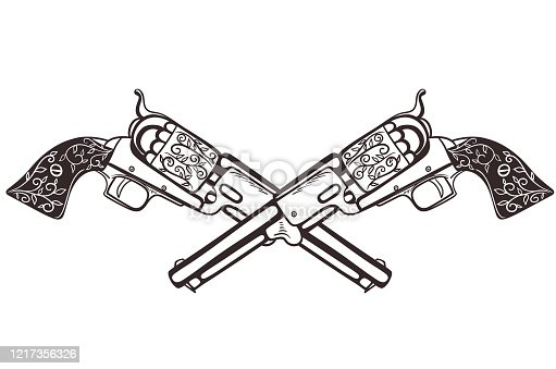 istock Two crossed pistols isolate on a white background. Vector graphics. 1217356326