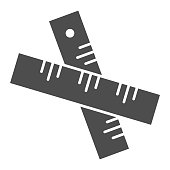 Two crossed rulers solid icon. Ruler symbol, glyph style pictogram on white background. School instrument for measuring length sign for mobile concept and web design. Vector graphics