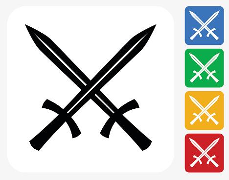 Two Crossed Swords Icon Flat Graphic Design