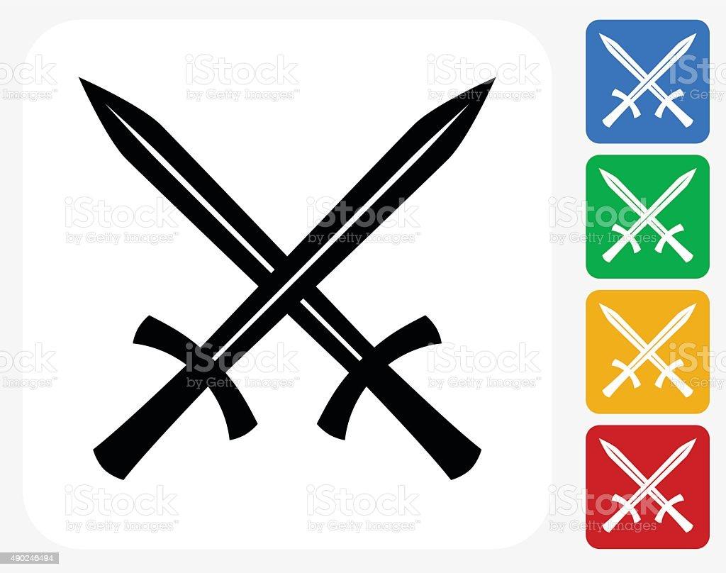 Two Crossed Swords Icon Flat Graphic Design vector art illustration