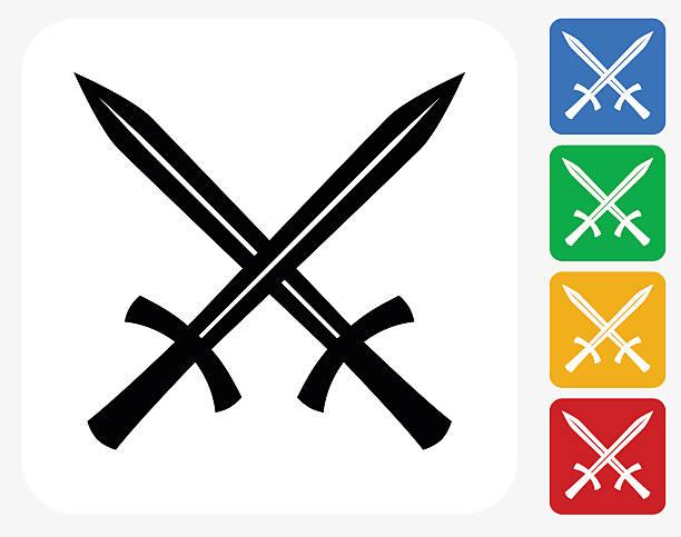 two crossed swords icon flat graphic design - sword stock illustrations