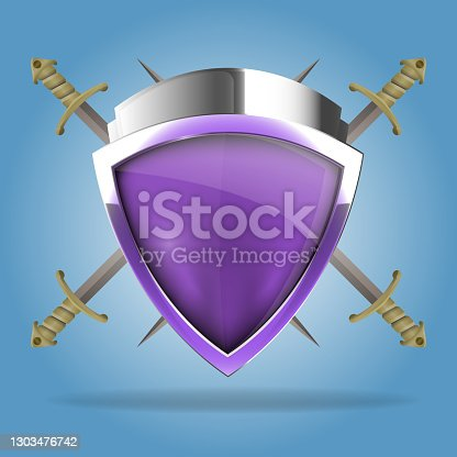 istock Two crossed swords that are behind the shield. The shield has a blank space for writing or drawing 1303476742