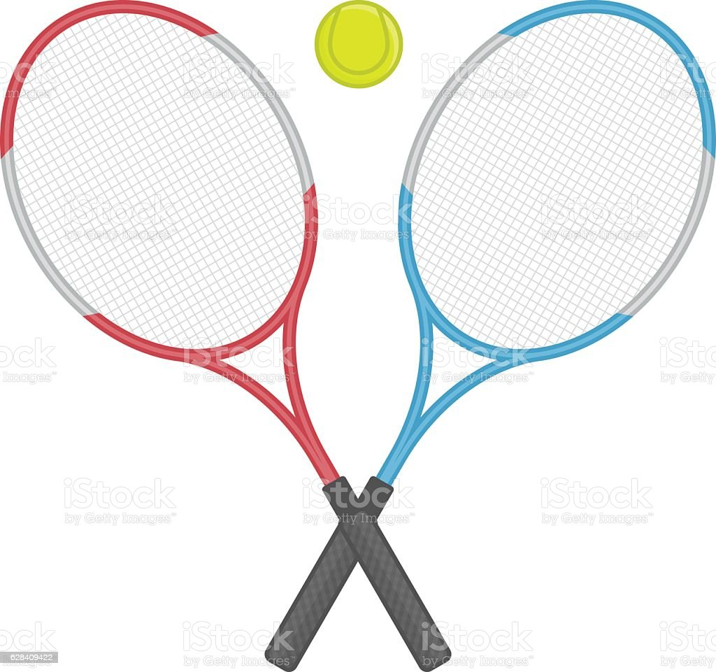 Two crossed tennis racket and ball. vector art illustration