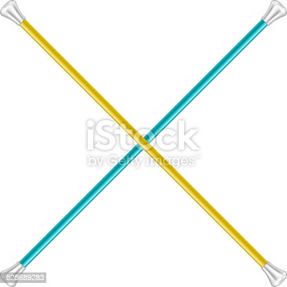 istock Two crossed twirling batons 525689283
