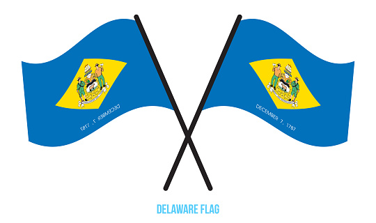 Two Crossed Waving Delaware Flag On Isolated White Background.