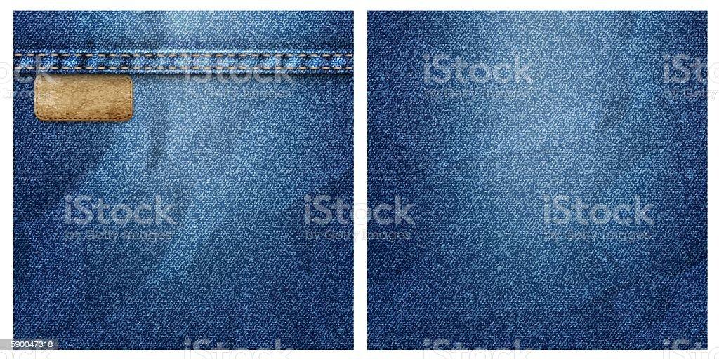 Two crumpled denim backgrounds vector art illustration