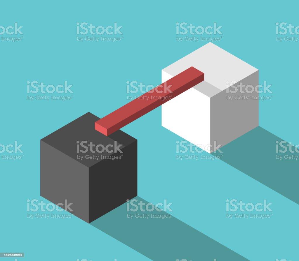 Two cubes, linking bridge vector art illustration