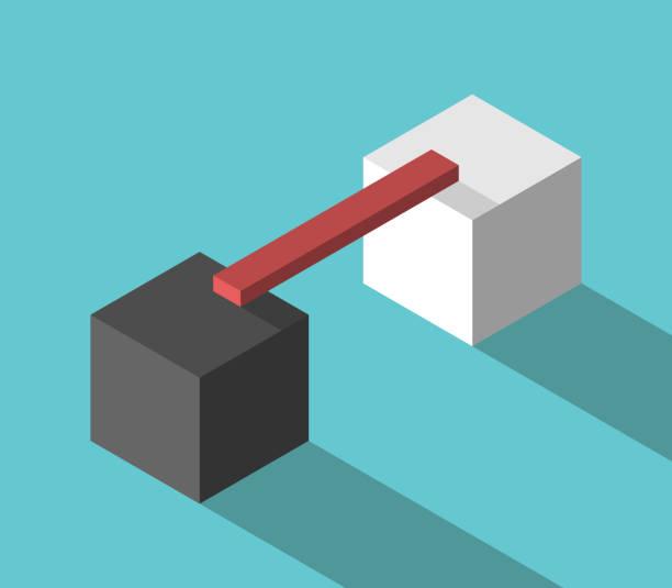 Zwei Würfel, Verlinkung zu überbrücken – Vektorgrafik