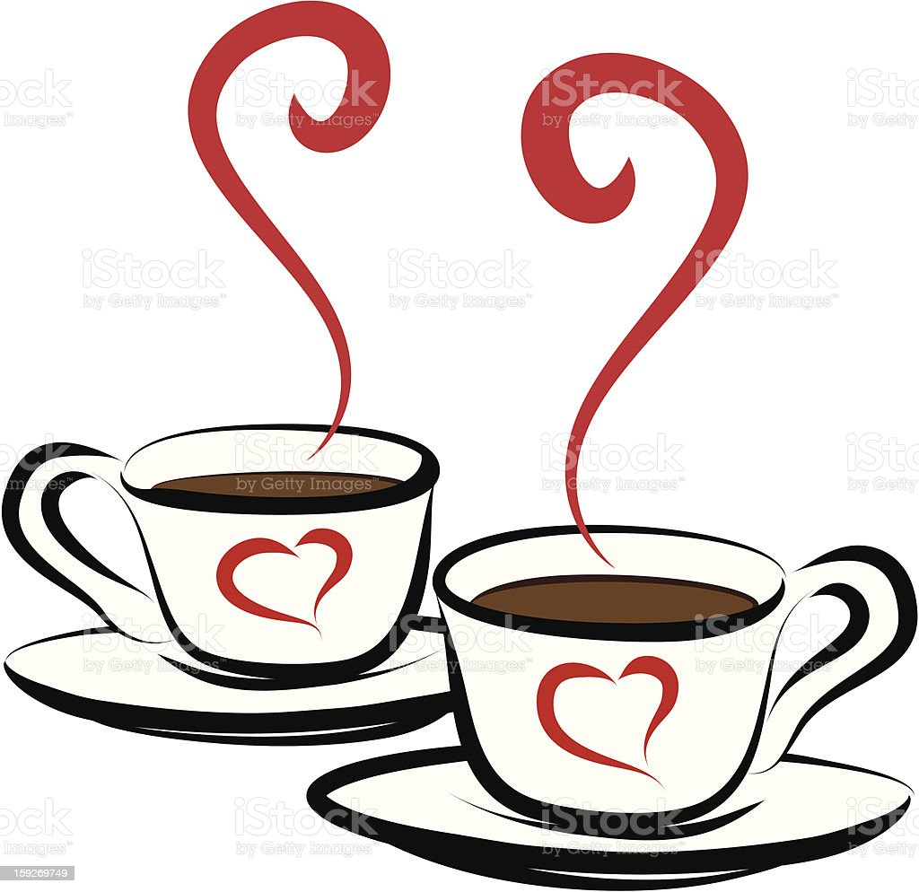 Two cups of hot coffee royalty-free two cups of hot coffee stock vector art & more images of breakfast