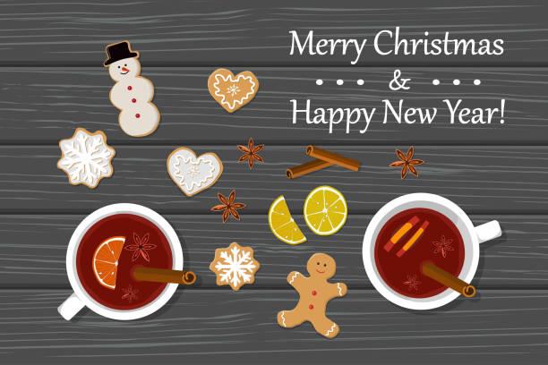 zwei tassen glühwein und gingirbread auf tisch - weihnachtsschokolade stock-grafiken, -clipart, -cartoons und -symbole