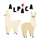 Two cute alpacas illustration with lettering, isolated on white background. Vector clipart.