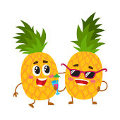 Two cute and funny pineapple characters, one tickling the other