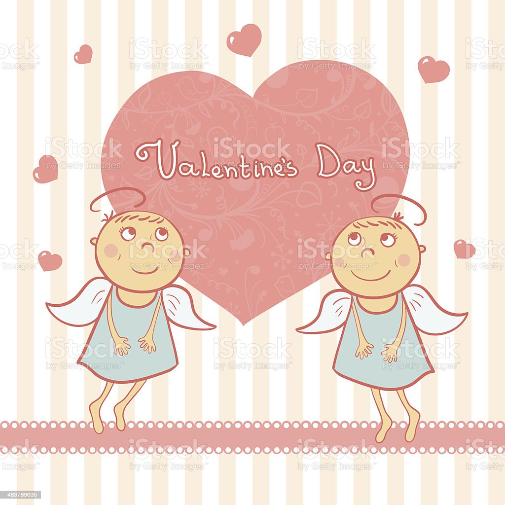 Zwei Süße Engel Sweet Karte Für Den Valentinstag Vektor Illustration