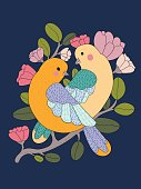 Two cute bird couple on a branch with flowers isolated. Vector illustration