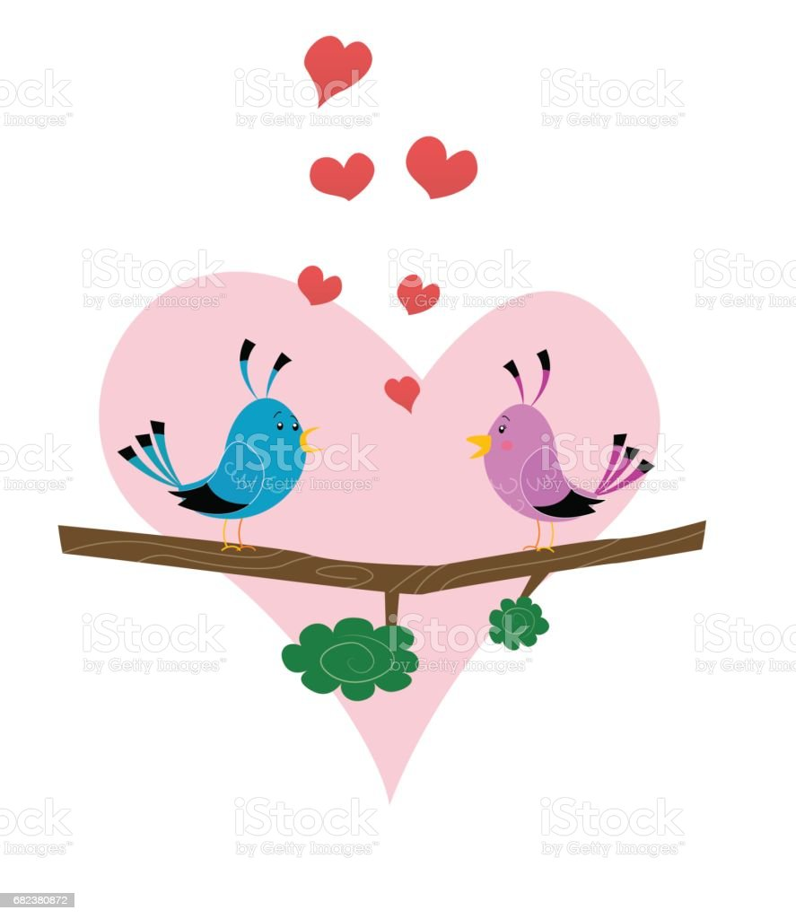 Two cute birds on branch royalty-free two cute birds on branch stock vector art & more images of animal