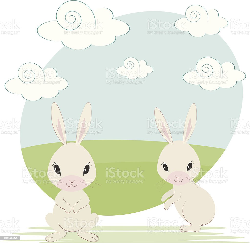 Two Cute Bunnies royalty-free stock vector art