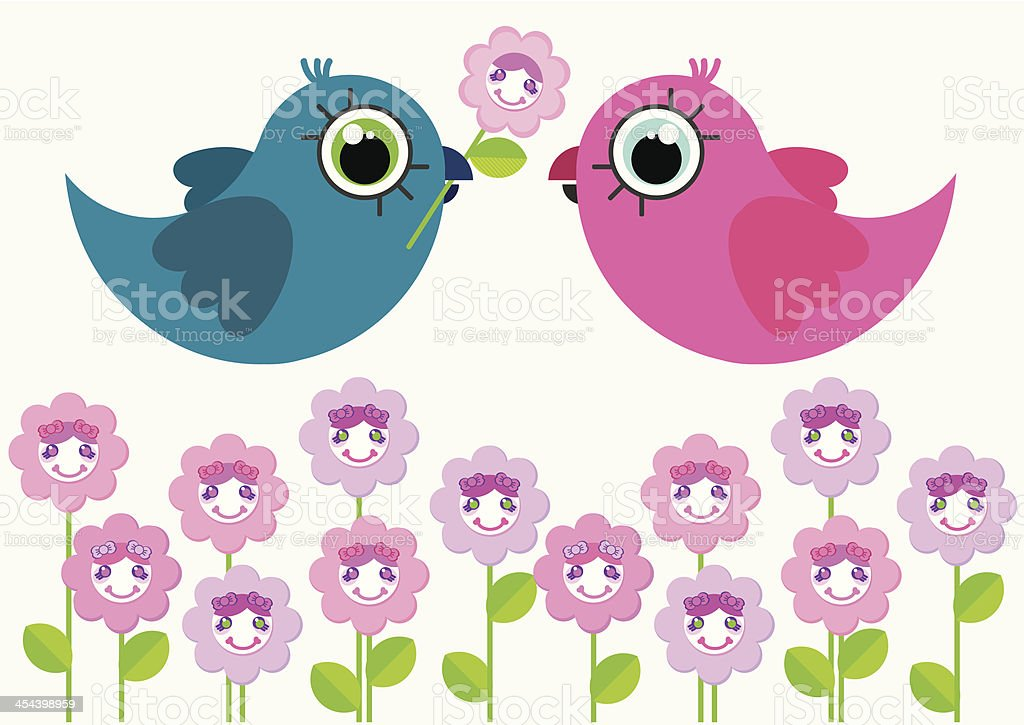 Two cute cartoon birds characters above the flowers. royalty-free two cute cartoon birds characters above the flowers stock vector art & more images of animal