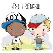 Two friends Cute cartoon boys in a cap