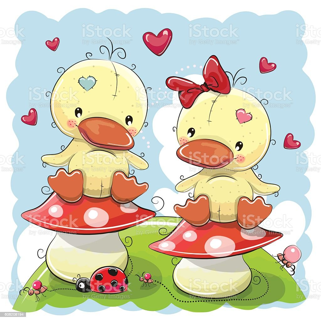 Two Cute Cartoon Ducks vector art illustration