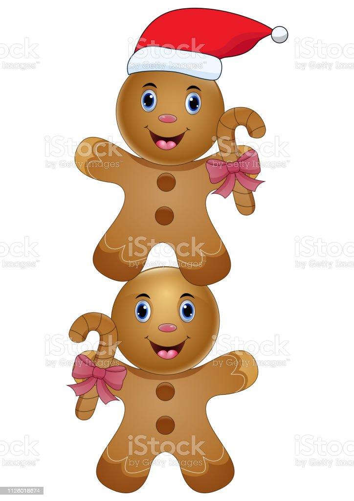 Imagenes De Galletas De Navidad Animadas.Ilustracion De Pan De Jengibre Dos Cute Dibujos Animados