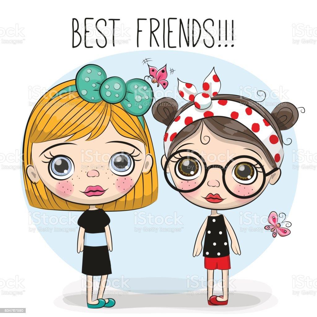 2 つのかわいい漫画の女の子 2人のベクターアート素材や画像を多数ご