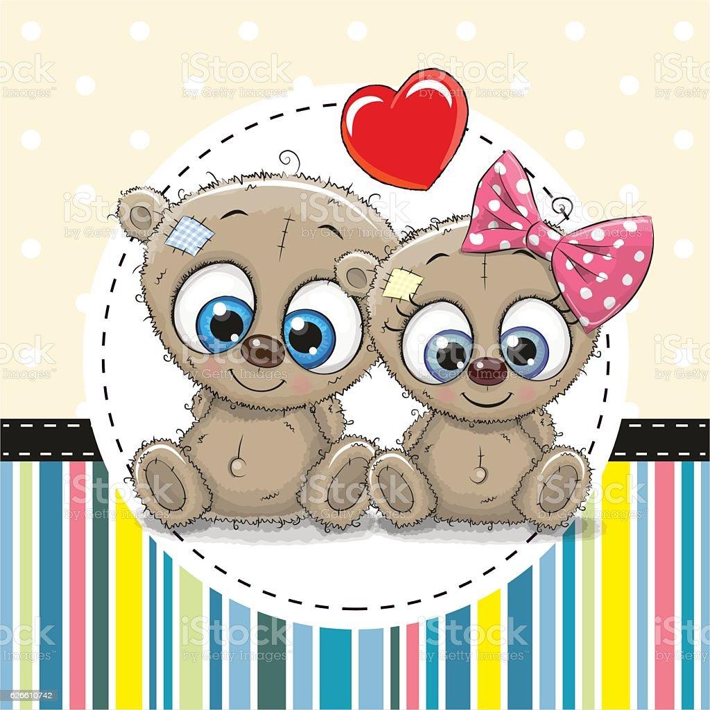 Two cute Cartoon Owls vector art illustration
