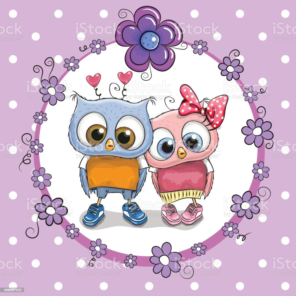 Two cute cartoon owls stock vector art more images of animal two cute cartoon owls royalty free two cute cartoon owls stock vector art amp voltagebd Images