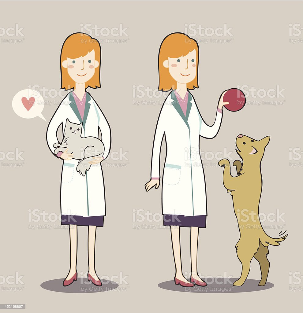 Two cute cartoon veterinarian royalty-free two cute cartoon veterinarian stock vector art & more images of adult