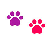 Two cute cat paw prints icons.