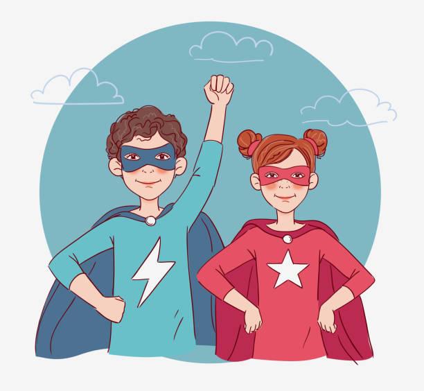 illustrazioni stock, clip art, cartoni animati e icone di tendenza di two cute children super heroes - compagni scuola