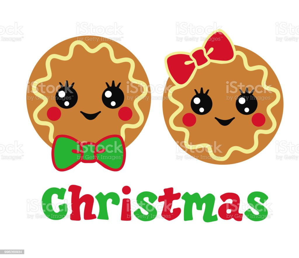 Download Two Cute Christmas Cookies With Funny Faces Boy And Girl ...