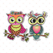 Two Cute colorful cartoon owls sitting on tree branch with flowers on white background. Can be used like sticker or for birthday cards and invitations